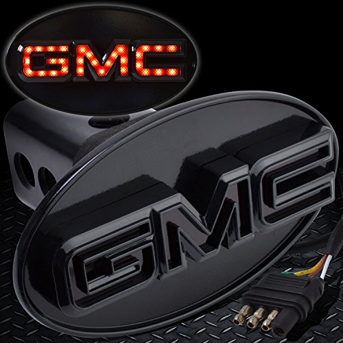 Bosswell GMC Hitch Cover Licensed LED Light Trailer Towing GMC Logo Hitch Cover Receiver Black (Logo Hitch Tube Cover)