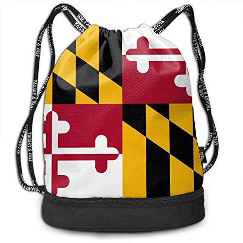 Maryland State Flag Casual Drawstring Bags Bundle Backpack Picnic String Rucksack Cinch Bag Lightweight Dance Daypack