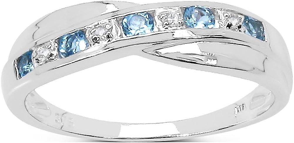 La Colección Anillo Diamante: Anillo Oro Blanco 9ct de Topacio Azul y set Diamantes, Perfecto para Regalo, Anillo de eternidad Aniversario, Tallas 6,8,9,10,11,12,13,15,16,17,19,20,21,22,24