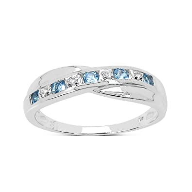 The Diamond Ring Collection 9ct White Gold Blue Topaz Diamond