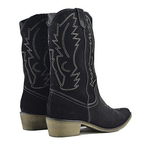 Occidentali Pelle Nero Stivali Ampia del Ladies Polpaccio Camoscio Stivali Donna Punta in da Cowboy dUBxqfOfEw