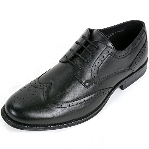 alpine swiss Zurich Mens Dress Shoes Lace Up Brogue Medallion Wing Tip Oxfords Black NaiCd7dsR