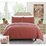 Chic Home 3 Piece Ora Heavy Embossed and Embroidered Quilted geometrical pattern REVERSIBLE printed Queen Comforter Set Brick