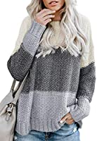 LOSRLY Women Color Block Striped Casual Pullover Sweater(S-XL)