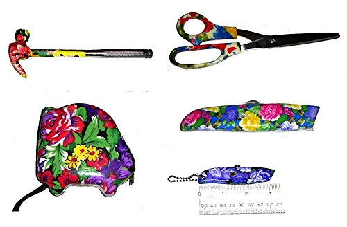 Mother's Day Gift for Mom Ladies 5 piece Floral Flower Designs & Patterns Tool Set includes a 5-in-1 Hammer, 10 Ft. Tape Measure, Scissors, a Standard Utility Knife & 1 Mini Keychain Box Cutter {jg}