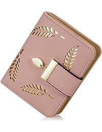 De la Mujer corta Leaf Bifold portafolios de piel Hollow titular de la tarjeta bolso bolso de embrague