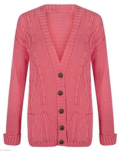 paisse femme Cardigan Femme et pour tricot Corail Hanger manches longues boutons irlandaise torsade Maille Xwqw0a4F