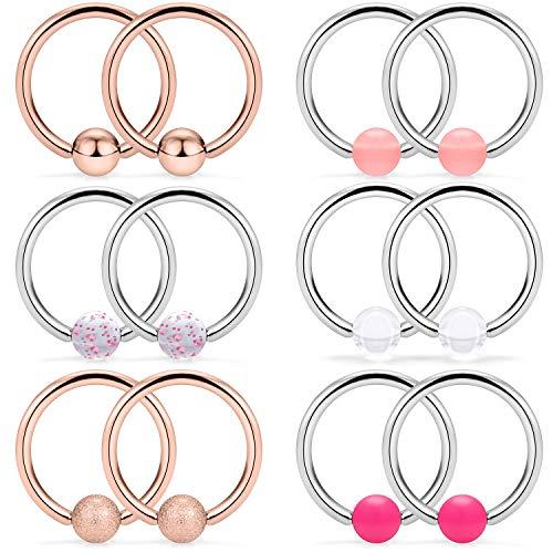 SCERRING 6 Pairs 14G Stainless Steel Captive Bead Ring Nipple Rings Hoop Cartilage Earrings Nipplerings Piercing Jewelry for Women Men 14mm Rose ()