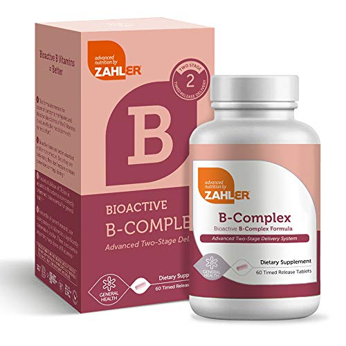 Zahler B Complex, Bioactive B-Complex Vitamins with Folate, Advanced Two-Stage delivery System, Certified Kosher, 60 Timed Release Tablet