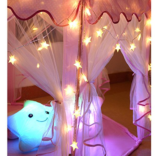 Homeleo 50 LED Warm White LED Twinkle Star Fairy Lights w/Remote Control, Battery Powered Five-Pointed Star String Lights by Homeleo (Image #6)
