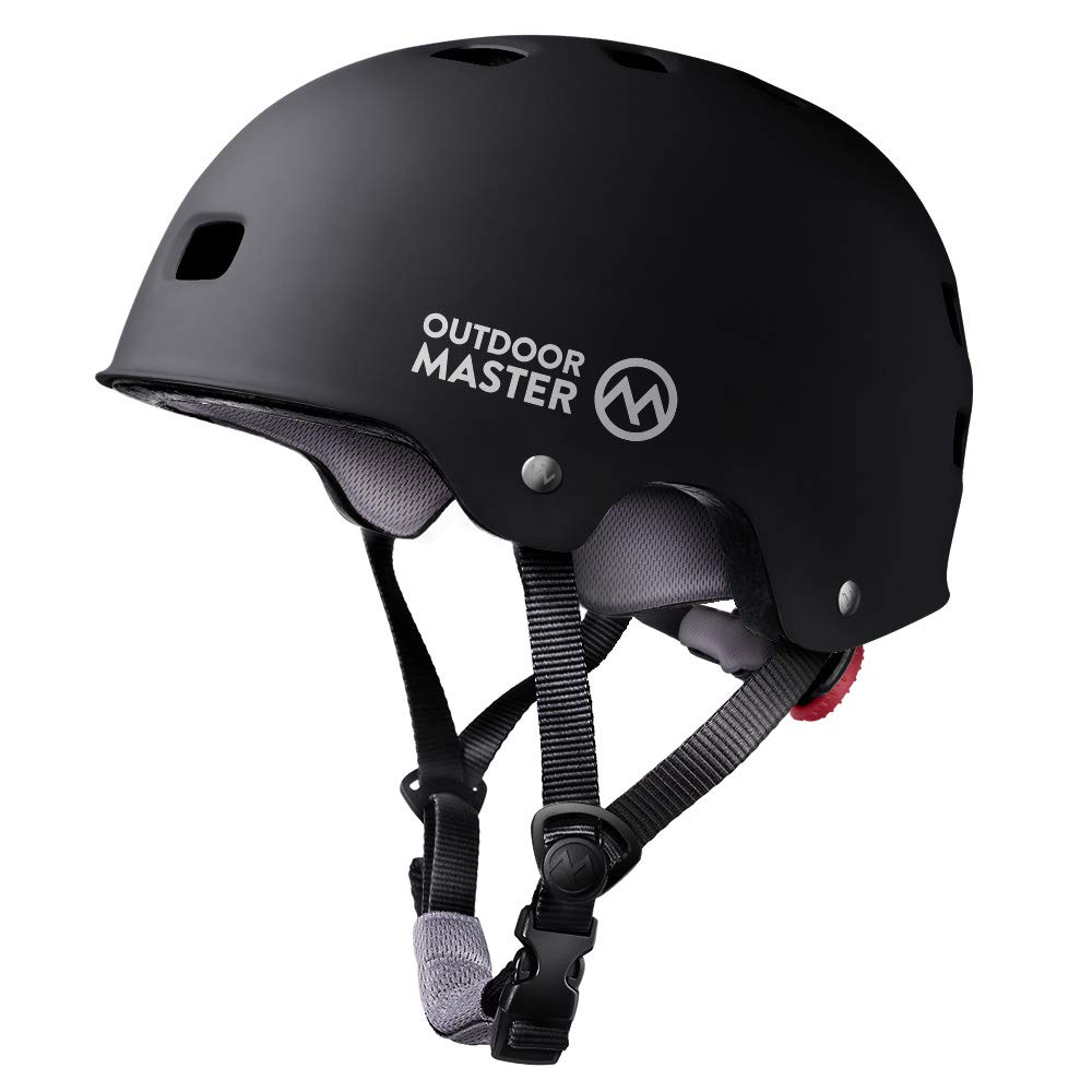 OutdoorMaster Skateboard Helmet - CPSC Certified Lightweight, Low-Profile Skate & Freestyle BMX Helmet with Removable Lining - 12 Vents Ventilation System - for Kids, Youth & Adults - S - Black