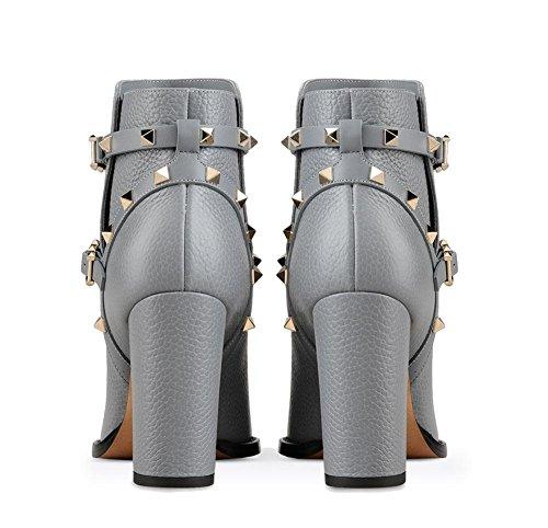 Gray Rivet Eur 8 Zapatos Áspero Apuntado 5 Cuero Tacón uk Spring eur40uk7 Negro Botón Nvxie Otoño Invierno Metal Tobillo 42 Corto Botas Mujeres Alto qR1BTwOx