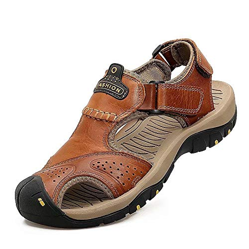 Wonvatu Mens Sport Sandals Outdoor Hiking Leather Sandal Fisherman Beach Casual Shoes Strap Water Sandals Brown ()