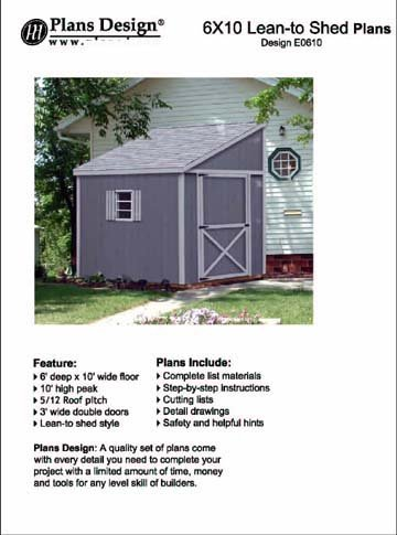 Plans design e00610 storage shed plans lean to roof style for Lean to style house plans