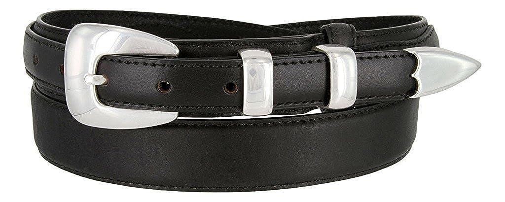Hagora Men 1-1//8 Wide Genuine Leather Stitched Edge 4 Piece Silver Buckle Belt