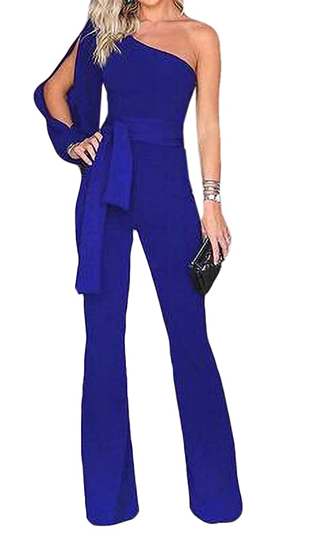pipigo Women Straight Fit One-Shoulder High Waist Jumpsuit Romper