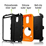 J.west S5 Case, Galaxy S5 Holster case, Hybrid Dual Layer Combo Armor Defender Protective Case with Kickstand + Belt Clip Holster for Samsung Galaxy S5 - Orange