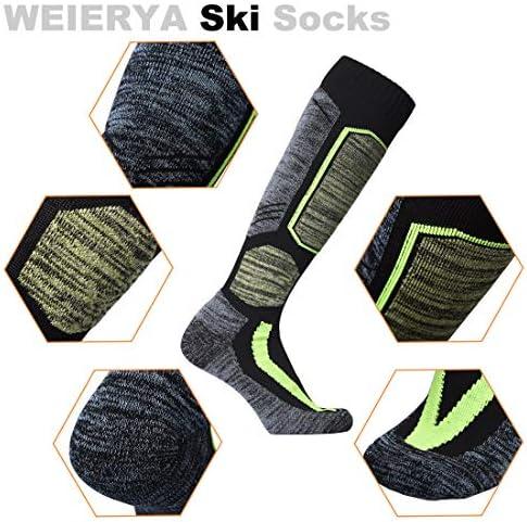 WEIERYA Ski Socks 2 Pairs Pack Performance Skiing Socks, Snowboard Socks