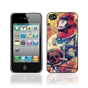 JinStore Hard Case Cover for Apple iPhone 4 / 4G / 4S / Monkey Astronaut Art Illustration