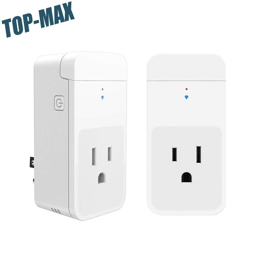 TOP-MAX Mini Smart Plug, 2 Pack Wireless Smart Plug,Mini Socket Outlet with Energy Monitoring,Wireless Remote Control Timer Sockets,No Hub Required,Compatible with Amazon Alexa Echo/Google Home