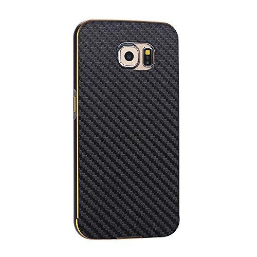 Samsung Galaxy S6 Edge G9250 Funda Case LifeePro Stylish 2 in 1 Patrón de teléfono híbrido [Anti-rasguños] [Antideslizante] Resistente a los golpes PU Cuero Negro Contraportada + Caja de parachoques d Negro