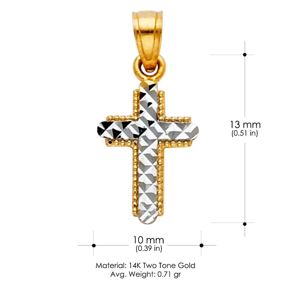 14K Two Tone Gold Cross Religious Charm Pendant with 0.8mm Box Chain Necklace