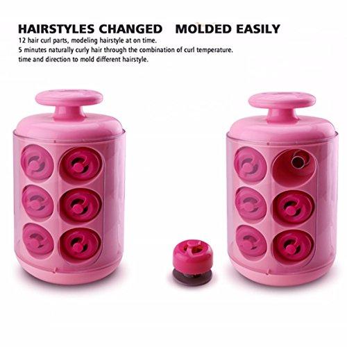 Rizador de cabello LuckyFine rosa cilíndrico Tipo Manual 5 minutos prototipado rápido Natural ola de calor: Amazon.es: Belleza
