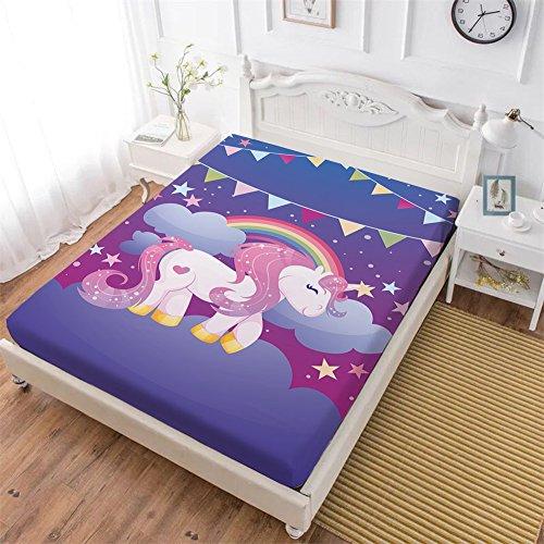 - Oliven Unicorn Fitted Sheet King,Cartoon Banner Rainbow Unicorn Deep Pocket Sheet 1 PC,Purple