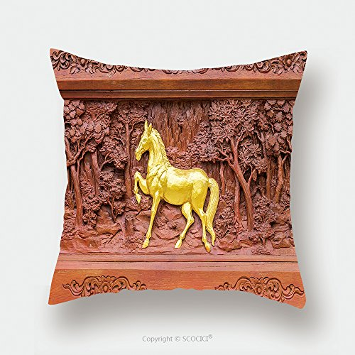 Custom Satin Pillowcase Protector Horse Wood Carvings In Thai Land 280648637 Pillow Case Covers Decorative by chaoran