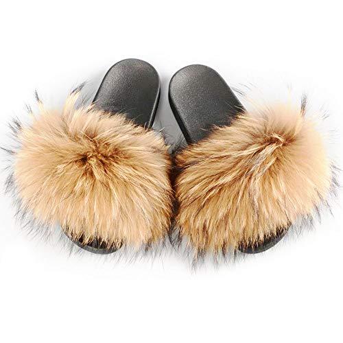 Manka Vesa Womens Luxury Real Raccon Fur Slippers Slides Indoor Outdoor Flat Soles Soft Spring Summer Shoes ()