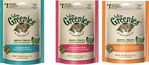 Feline Greenies Cat Dental Treat Variety Pack of (12) 2.5oz Bags - 30oz Total