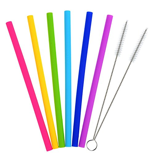 Reusable Straws, Colorful Silicone Extra Long Straws for 30 oz Tumbler Yeti / Rtic Complete Bundle with 2 Brushes (Pack of 6) (Straight)