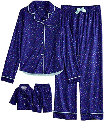 Girls American Girl Pajamas and Doll Matching Set Button Front AG PJS 4 Pc Set (Small 7-8)