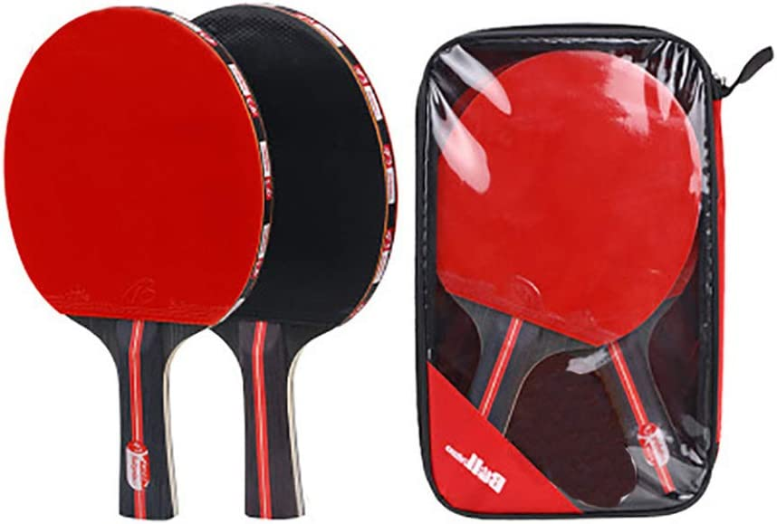 GEVJ Calidad 2Pcs / Lot Table Tennis Bat Racket Espinillas De Doble Cara En Mango Corto Largo Ping Pong Paddle Racket Set con Bolsa 3 Bolas