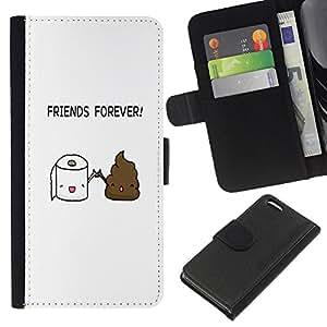Apple iPhone 5C , la tarjeta de Crédito Slots PU Funda de cuero Monedero caso cubierta de piel (Funny - Toilet Poop Friends)