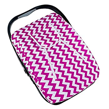 Artempo 9.7  x 7.9  x 4.8  Lightweight Baby Car Seat Cover, Peek-a-boo Opening, Canopy Protection, Oxford material, Color Zigzag White/Fuchsia