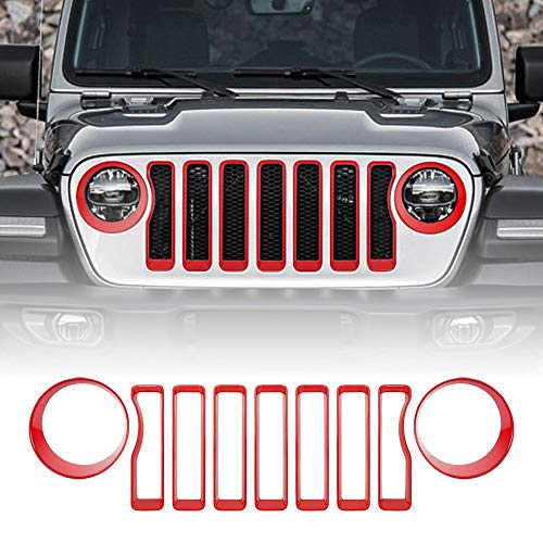 WeifangInspire Front Grille Inserts Guard Grill Trim Cover & Headlight Covers Trim for 2018 2019 Jeep Wrangler JL Sport/Sports (Red)