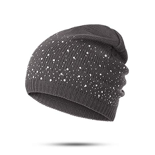Winter Beanie Hats Knitted Cap Women Flashing Rhinestone Bonnet for Girl Skullies ()