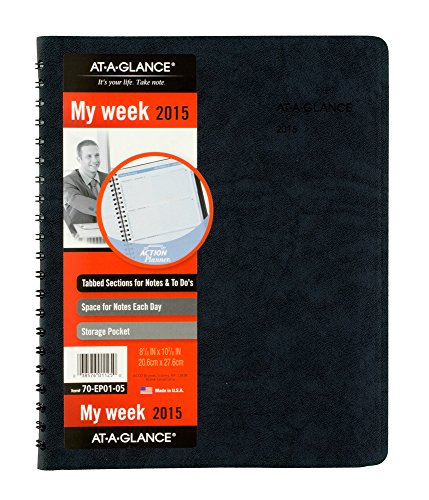 AT-A-GLANCE The Action Planner Weekly Appointment Book 2015, Wirebound, 8.12 x 10.88 Inch Page Size, Black (70EP01-05) ()