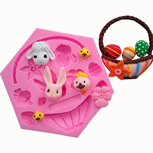 MoldFun Easter Bunny Egg Basket Flower Animals Silicone Mold for Fondant Chocolate Candy Gum Paste Polymer Clay Resin Kitchen Baking Sugar Craft Cake Cupcake Decorating Tools