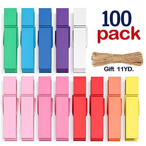 Clothes Pins Mini Clothespins Colored - 100 PCS Wooden Small Clothespins for Pictures Photo Paper Clip , Ideal for Crafts, Chip Clips, Home Decoration 1.38 X 0.28 inches, with 10.9 Yards Jute Twine
