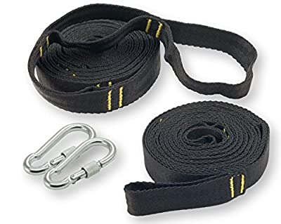 Sturdy Hammock Tree Straps with 2 Long, Heavy Duty Camping Hammock Strap Kit, Carabiners & Case by Happy Hammock Co.