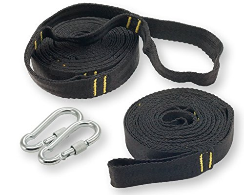 Sturdy Hammock Tree Straps with 2 Long, Heavy Duty Camping Hammock Strap Kit, Carabiners & Case by Happy Hammock Co. (Covers Online Cheap Quilt Buy)
