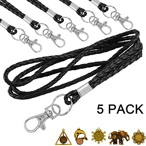 Lanyard Leather pu Lanyards for Women ID Badges Holder Keys Keychain Men Cell Phone USB PU Leather Neck Cruise Office lanyards Black with Ornamental Part YOUOWO 5 Pack