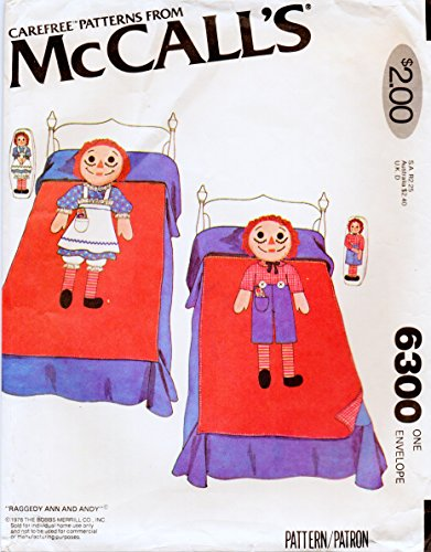 McCall's 6300 Vintage Raggedy Ann and Andy Twin Size Quilt Sewing Pattern with Transfer