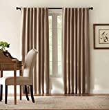 Home Decorators Collection 84 in. L Taupe Polyester Back Tab Curtain