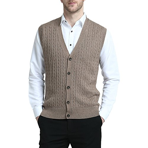 Sweater Cashmere Cable (Kallspin Relaxed Fit Mens Cable Stripe V Neck Vest Sweater Cashmere Wool Blend Front Button (Coffee, XXL))