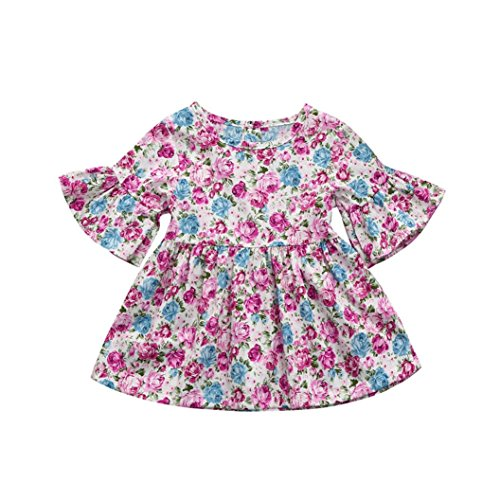 Dusty Pink Cotton (Goodlock Toddler Kids Fashion Dress Baby Girls Print Ruffles Half Sleeve Dress Summer Skirt Outfits Clothes (Pink, Size:18M))