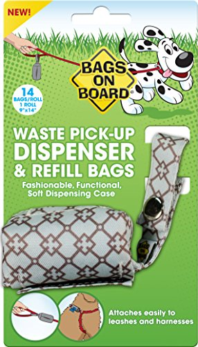Bags on Board Dog Poop Bags Dispenser with 14 Refill Bags | Attaches to Most Leashes