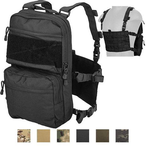 Lancer Tactical Modern Slim to 2-Day Trek Back Pack with Padded Back Mesh Weave Vent and Chest Rig Four Line MOLLE Panel Exterior Pockets Hydration Bladder 1000 Denier Double Stitched (BLACK) ()